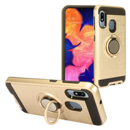 Multifunctional Hybrid Armor Case with Smart Loop Ring Holder for Samsung Galaxy A10e - Gold