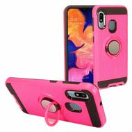 Multifunctional Hybrid Armor Case with Smart Loop Ring Holder for Samsung Galaxy A10e - Hot Pink