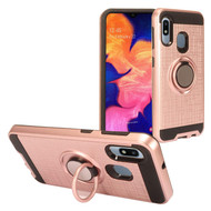 Multifunctional Hybrid Armor Case with Smart Loop Ring Holder for Samsung Galaxy A10e - Rose Gold