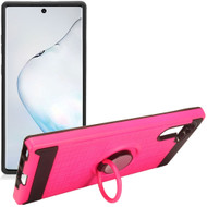 Multifunctional Hybrid Armor Case with Smart Loop Ring Holder for Samsung Galaxy Note 10 - Hot Pink