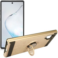 Multifunctional Hybrid Armor Case with Smart Loop Ring Holder for Samsung Galaxy Note 10 Plus - Gold