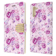 Diamond Series Luxury Bling Portfolio Leather Wallet Case for Samsung Galaxy Note 10 - Fresh Purple Flowers