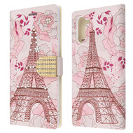 Diamond Series Luxury Bling Portfolio Leather Wallet Case for Samsung Galaxy Note 10 - Eiffel Tower