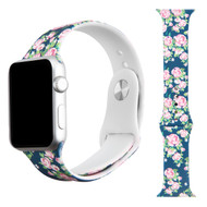 High Fashion Sport Silicone Watch Band for Apple Watch 40mm / 38mm - Navy Roses