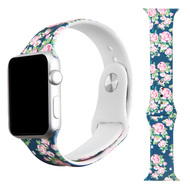 High Fashion Sport Silicone Watch Band for Apple Watch 44mm / 42mm - Navy Roses