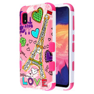 Military Grade Certified TUFF Hybrid Armor Case for Samsung Galaxy A10e - Eiffel Tower
