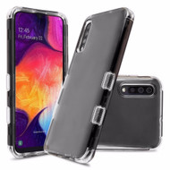 Military Grade Certified TUFF Lucid Transparent Hybrid Armor Case for Samsung Galaxy A50 - Smoke