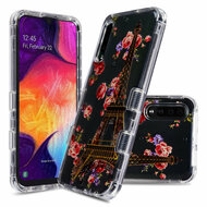 Military Grade Certified TUFF Lucid Transparent Hybrid Armor Case for Samsung Galaxy A50 - Paris in Full Bloom