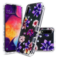 Military Grade Certified TUFF Lucid Transparent Hybrid Armor Case for Samsung Galaxy A50 - Purple Stargazers