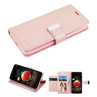 Xtra Series Essential Leather Wallet Stand Case for LG Aristo 3 / Aristo 2 Plus / Fortune 2 / Tribute Empire - Rose Gold