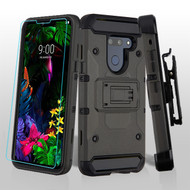 3-IN-1 Kinetic Hybrid Armor Case with Holster and Tempered Glass Screen Protector for LG G8 ThinQ - Dark Grey