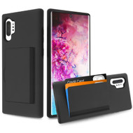 Poket Credit Card Hybrid Armor Case for Samsung Galaxy Note 10 Plus - Black