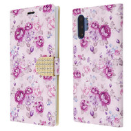 Diamond Series Luxury Bling Portfolio Leather Wallet Case for Samsung Galaxy Note 10 Plus - Fresh Purple Flowers