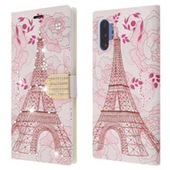 Diamond Series Luxury Bling Portfolio Leather Wallet Case for Samsung Galaxy Note 10 Plus - Eiffel Tower