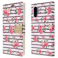 Diamond Series Luxury Bling Portfolio Leather Wallet Case for Samsung Galaxy Note 10 Plus - Pink Fresh Roses