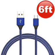6 Ft. Nylon Wrap USB-C (Type-C) Charge and Sync Tangle-Free USB Cable - Blue