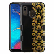 Military Grade Certified TUFF Hybrid Armor Case for Samsung Galaxy A20 - Floral Gold