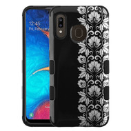 Military Grade Certified TUFF Hybrid Armor Case for Samsung Galaxy A20 - Floral Silver