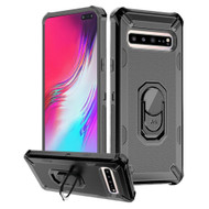 Military Grade Certified Brigade Hybrid Armor Case with Ring Finger Loop Stand for Samsung Galaxy S10 5G - Black