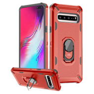 Military Grade Certified Brigade Hybrid Armor Case with Ring Finger Loop Stand for Samsung Galaxy S10 5G - Red