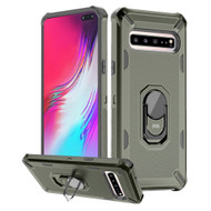 Military Grade Certified Brigade Hybrid Armor Case with Ring Finger Loop Stand for Samsung Galaxy S10 5G - Dark Grey