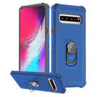 Military Grade Certified Brigade Hybrid Armor Case with Ring Finger Loop Stand for Samsung Galaxy S10 5G - Navy Blue