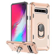 Military Grade Certified Brigade Hybrid Armor Case with Ring Finger Loop Stand for Samsung Galaxy S10 5G - Rose Gold