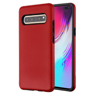 Carbon Fiber Hybrid Case for Samsung Galaxy S10 5G - Red