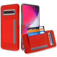 Poket Credit Card Hybrid Armor Case for Samsung Galaxy S10 5G - Red