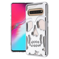 Military Grade Certified Skullcap Lucid Transparent Hybrid Armor Case for Samsung Galaxy S10 5G - Silver Clear