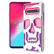 Military Grade Certified Skullcap Lucid Transparent Hybrid Armor Case for Samsung Galaxy S10 5G - Silver Hot Pink Purple