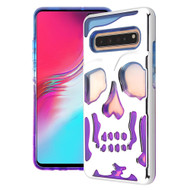 Military Grade Certified Skullcap Lucid Transparent Hybrid Armor Case for Samsung Galaxy S10 5G - Silver Blue Purple