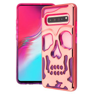 Military Grade Certified Skullcap Lucid Transparent Hybrid Case for Samsung Galaxy S10 5G - Rose Gold Hot Pink Purple
