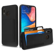 Poket Credit Card Hybrid Armor Case for Samsung Galaxy A20 - Black