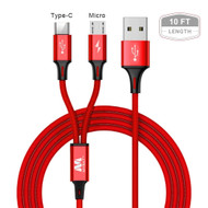 10 ft. Hybrid 2-IN-1 USB-C (Type-C) and Micro USB Connector Charging and Sync Cable - Red