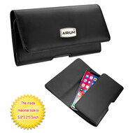 Premium Horizontal Leather Pouch Sleeve Case - Black