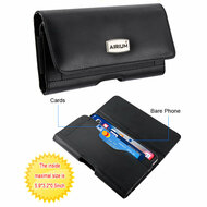 Premium Horizontal Leather Pouch Sleeve Case with Card Compartment - Black