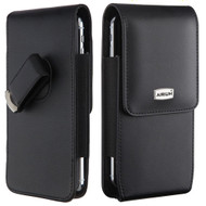 Premium Vertical Leather Pouch Sleeve Case - Black