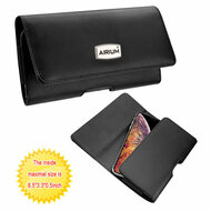 Premium Horizontal Leather Pouch Sleeve Case - Black 101