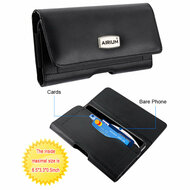 Premium Horizontal Leather Pouch Sleeve Case with Card Compartment - Black 201
