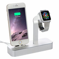 2-IN-1 Aluminum Dock Stand Charging Station for Apple Watch and iPhone with Lightning Connector - Silver