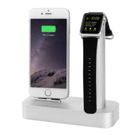 2-IN-1 Aluminum Dock Stand Charging Cradle for Apple Watch and iPhone with Lightning Connector - Silver