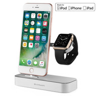 MFi Apple Certified 2-IN-1 Powered Dock Stand Charging Station for Apple Watch and iPhone - Silver