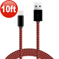 10 ft. Eco-Friendly Braided Nylon Fiber Lightning Connector to USB Charge and Sync Cable - Black Red