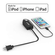 MFi Apple Certified USB Turbo Wall Charger with Lightning Cable - Black