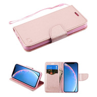 Crossgrain Series Diary Leather Wallet Stand Case for iPhone 11 - Rose Gold