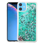 Quicksand Glitter Transparent Case for iPhone 11 - Green