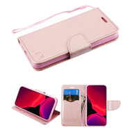 Crossgrain Series Diary Leather Wallet Stand Case for iPhone 11 Pro - Rose Gold