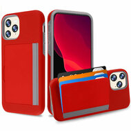 Poket Credit Card Hybrid Armor Case for iPhone 11 Pro - Red