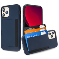Poket Credit Card Hybrid Armor Case for iPhone 11 Pro - Navy Blue